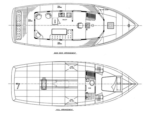 Aurora 40 - Power Yacht - Boat Plans - Boat Designs